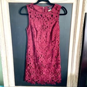 Forever 21 Floral Lace Burgundy Dress Small